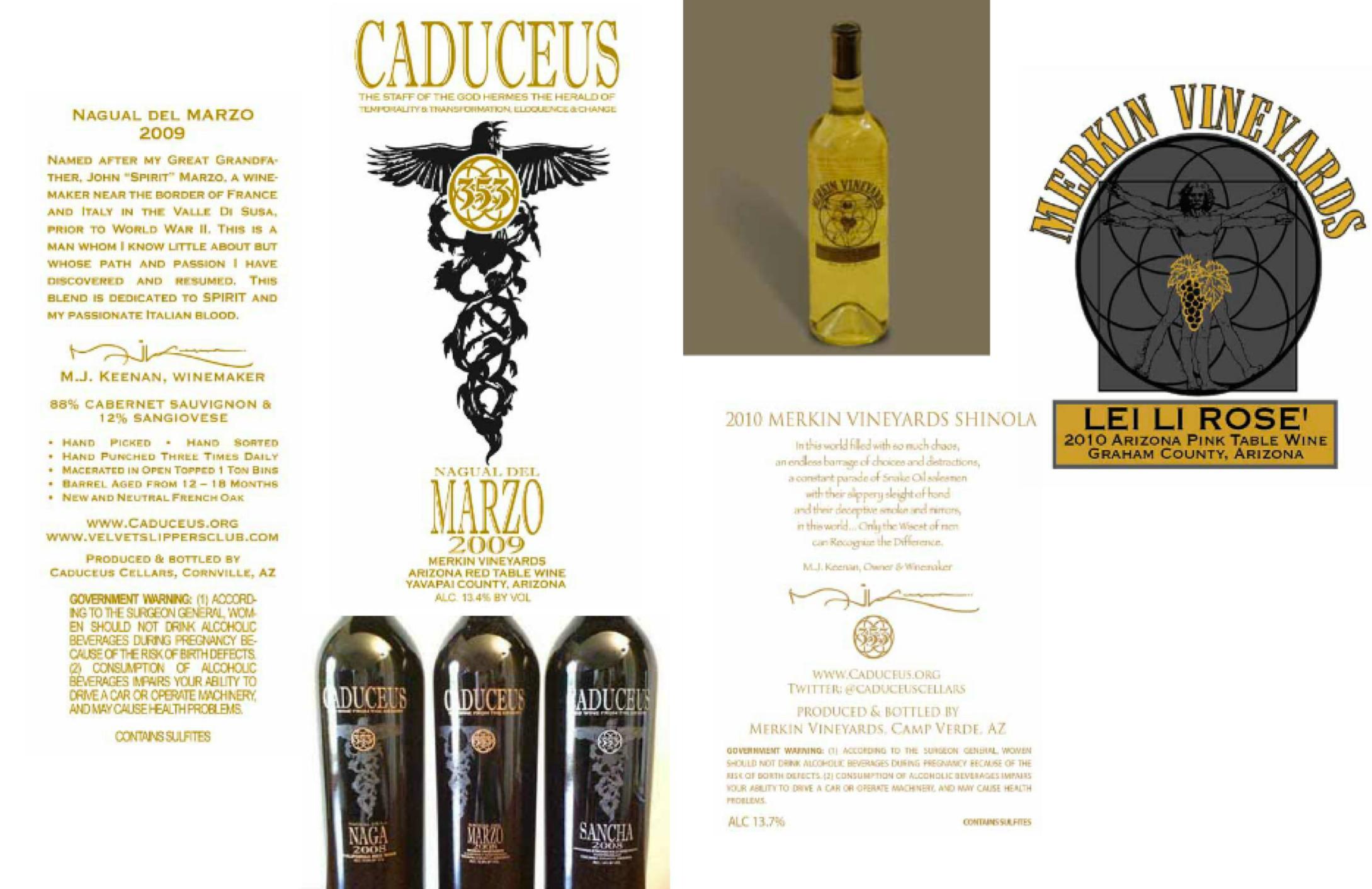 CADUCEUS VINYARDS Wine Label Design / Credit  Brandon Bryant