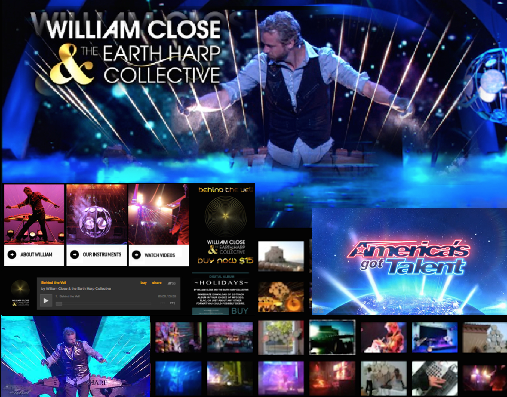 William Close & Earth Harp – AGT- POP Website &  Brand